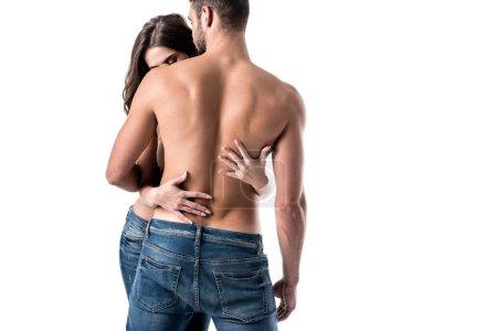 Rückseite von jungen sinnlichen halbnackten Paar isoliert auf weiß