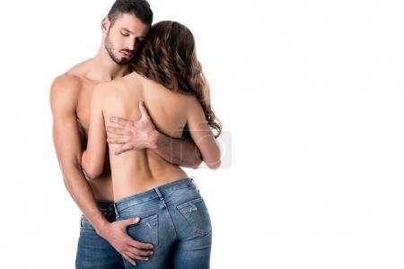Photo pour Vue arrière du couple sensuel à moitié nu étreignant isolé sur blanc - image libre de droit
