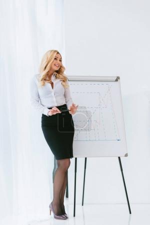 Photo pour Séduisante femme d'affaires blonde debout au tableau et tenant crayon - image libre de droit