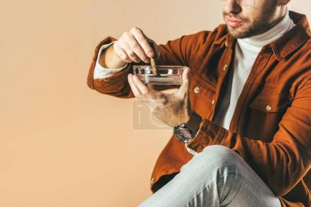 cropped shot of man putting out a cigar in ashtray isolated on beige