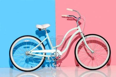 Photo for View of city bike on pink and blue background - Royalty Free Image