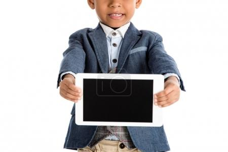 Photo for Cropped image of african american kid showing tablet isolated on white - Royalty Free Image
