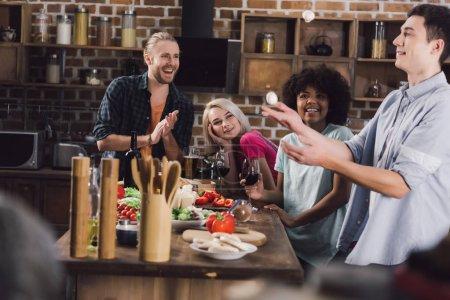 multiethnic friends looking how friend throwing up mushrooms