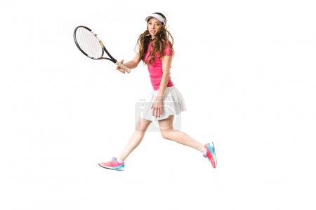 sporty young woman playing tennis isolated on white