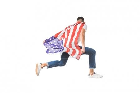 back view of young man with american flag jumping isolated on white