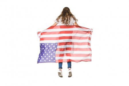 back view of young woman holding american flag isolated on white