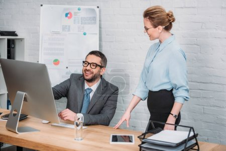 successful modern businesspeople working together