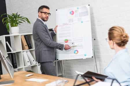businessman making presentation with whiteboard for colleague at office