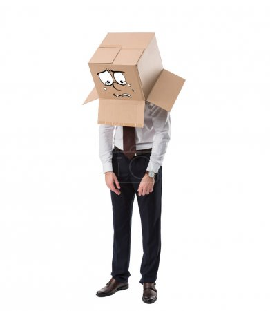 exhausted businessman with cardboard box on head standing isolated on white