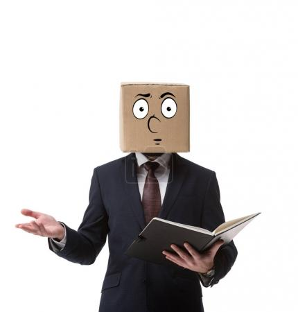 businessman with cardboard box on head holding documents in folder isolated on white