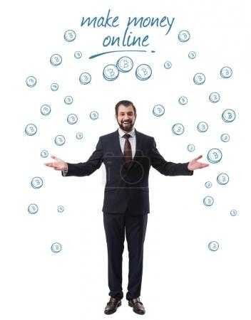 cheerful successful businessman in suit with bitcoin symbols with inscription make money online isolated on white