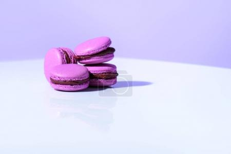 Photo for Purple macarons on violet background, ultra violet trend - Royalty Free Image