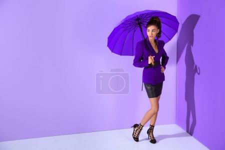 fashionable african american girl posing in purple jacket with umbrella at ultra violet wall