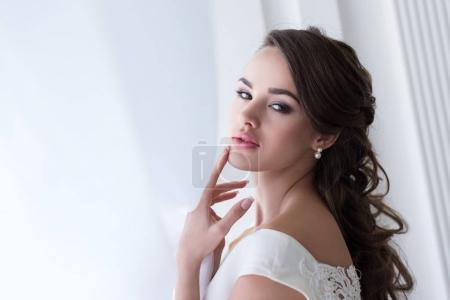 beautiful sensual bride in wedding dress