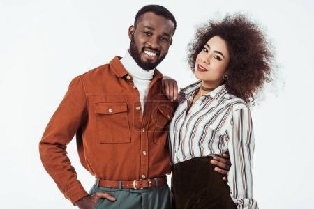 Photo for Happy african american retro styled couple looking at camera isolated on white - Royalty Free Image