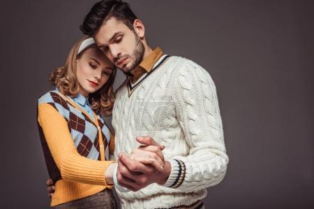 Photo pour Belle rétro style de danse en couple isolé sur fond gris - image libre de droit