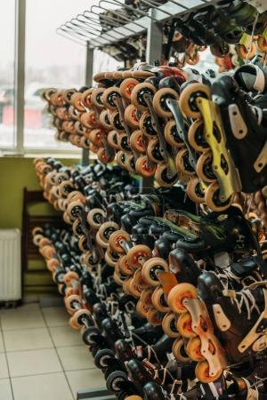 close up view of arranged roller skates in indoors skate park