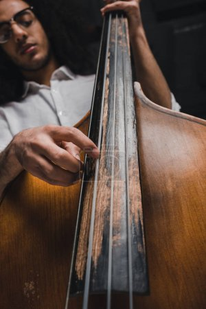 bottom view of handsome young musician playing standup bass