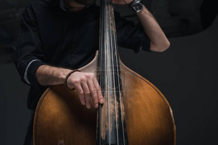 Photo for Cropped shot of man playing contrabass on black - Royalty Free Image