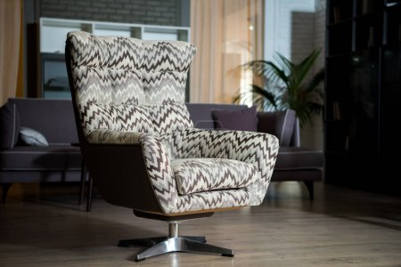Closeup view of tissue armchair in modern living room