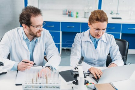 portrait of scientific researcher working on laptop with colleague near by at workplace in laboratory