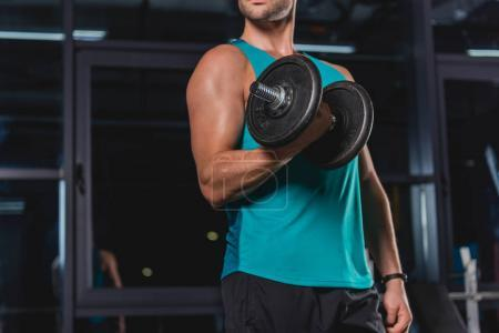 cropped view of muscular sportsman training with dumbbell