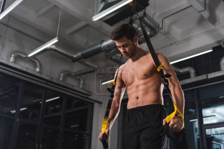 Photo for Shirtless muscular sportsman training with resistance band in gym - Royalty Free Image