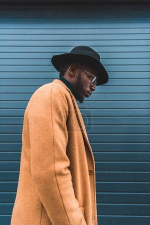 side view of stylish young african american man in hat and overcoat walking outside