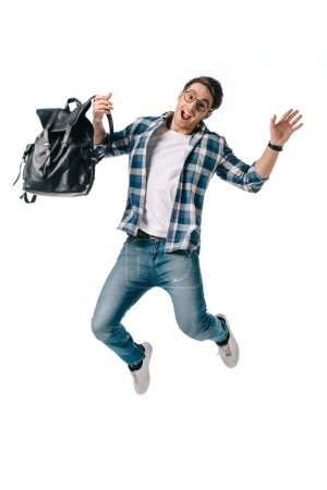 screaming student jumping with backpack isolated on white