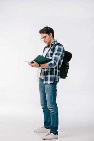 handsome student reading copybook isolated on white