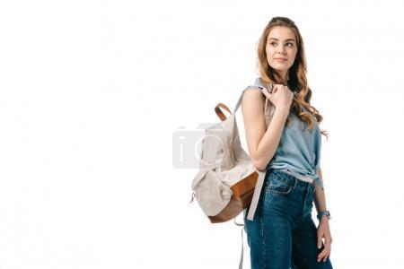 Photo pour Joyeux beau étudiant regardant loin isolé sur blanc - image libre de droit