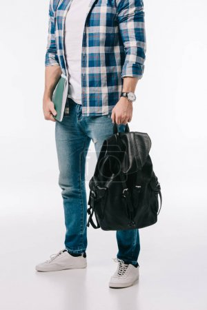 cropped image of student with backpack and copybook isolated on white