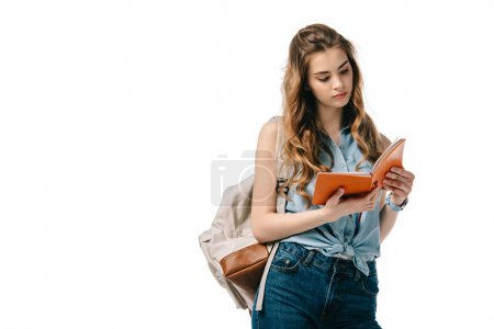 beautiful student reading book isolated on white