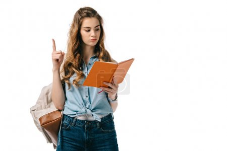 beautiful student showing idea gesture and reading book isolated on white