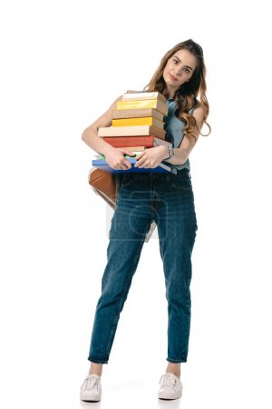 beautiful student holding stack of books isolated on white
