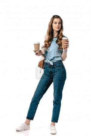 beautiful student holding coffee in paper cups isolated on white