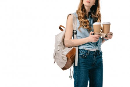 cropped image of student holding coffee in paper cups isolated on white