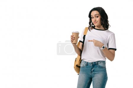 african american teen student pointing on coffee to go isolated on white