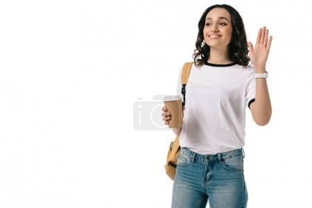 smiling african american teen student waving hand isolated on white