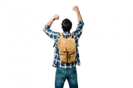 rear view of student jumping with backpack isolated on white