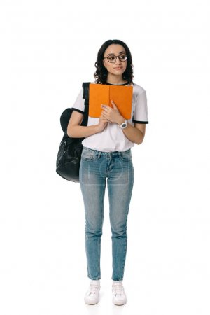 african american teen student holding book isolated on white