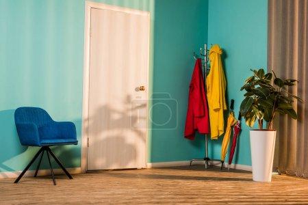 intérieur du couloir avec fauteuil bleu et plante en pot