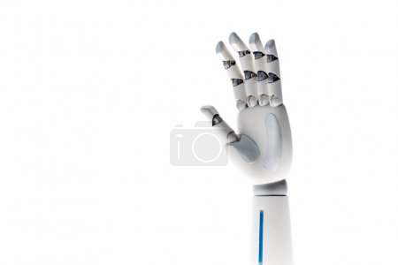 robot waving hand isolated on white