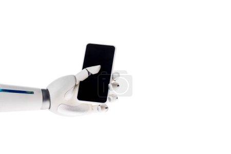 Photo pour Main de robot sur smartphone isolé sur blanc - image libre de droit