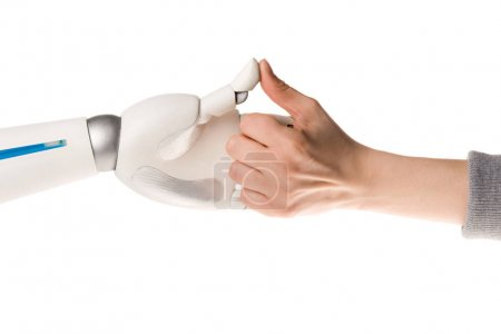 cropped image of robot and woman playing thumb wars isolated on white