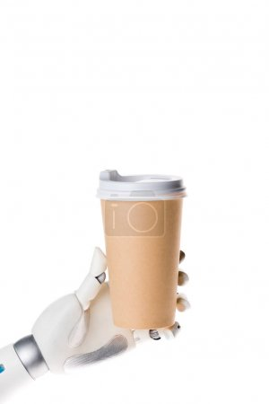 robot hand holding disposable coffee cup isolated on white