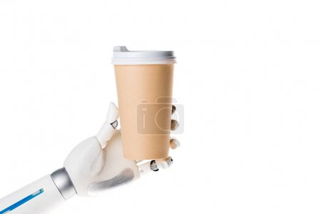robot hand holding coffee in paper cup isolated on white