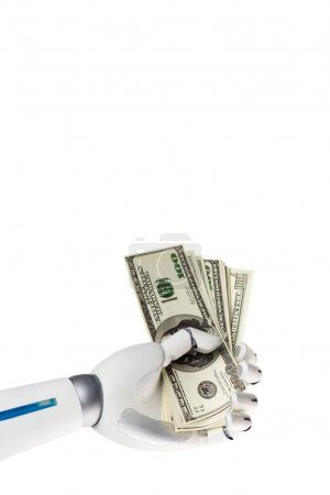 robot hand holding dollar banknotes isolated on white