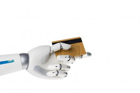robot hand holding credit card for payment isolated on white