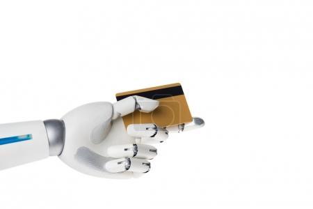 Photo pour Main de robot sur carte de crédit pour paiement isolé sur blanc - image libre de droit